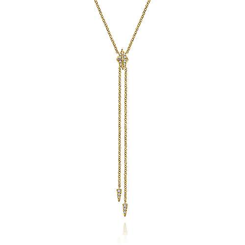 14k Yellow Gold Contemporary Y Knots Necklace