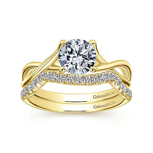 14k Yellow Gold Criss Cross Engagement Ring angle 4