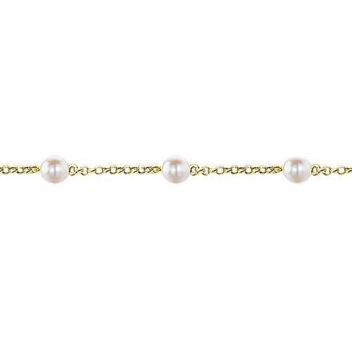 14k Yellow Gold Cultured Pearl Chain Bracelet angle 2