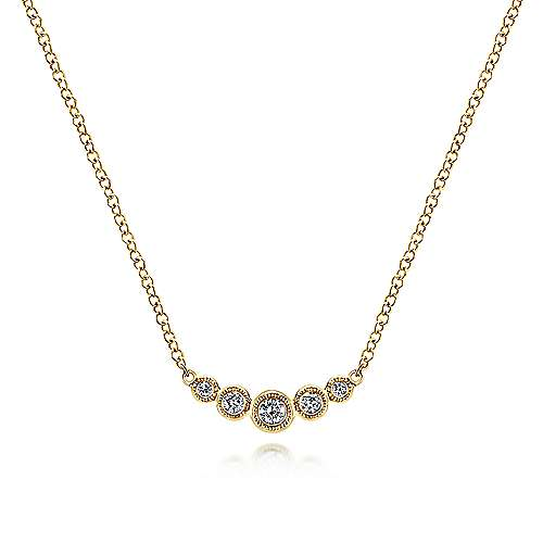 14k Yellow Gold Curved Round Diamond Bar Fashion Necklace