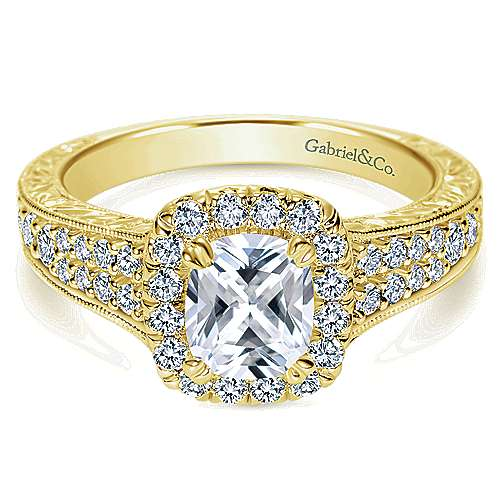 14k Yellow Gold Cushion Cut Halo