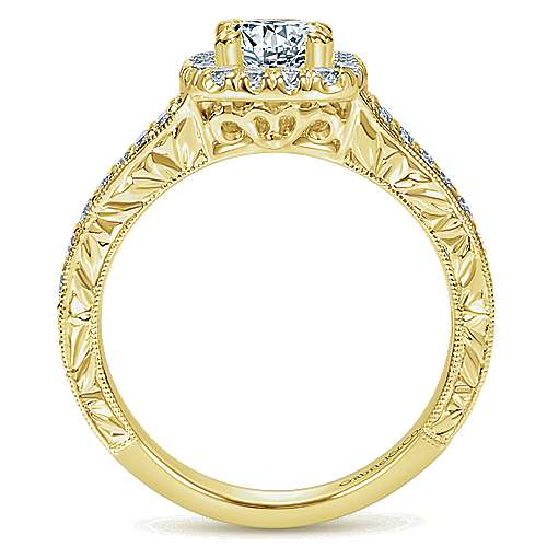 14k Yellow Gold Cushion Cut Halo Engagement Ring