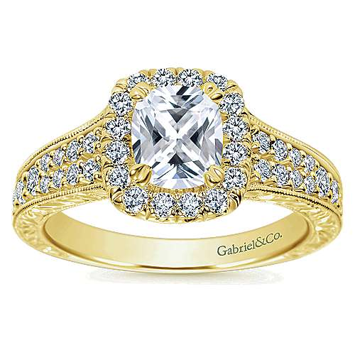 14k Yellow Gold Cushion Cut Halo Engagement Ring angle 5