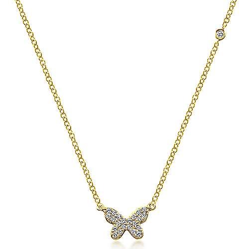 14k Yellow Gold Dainty Diamond Butterfly Necklace