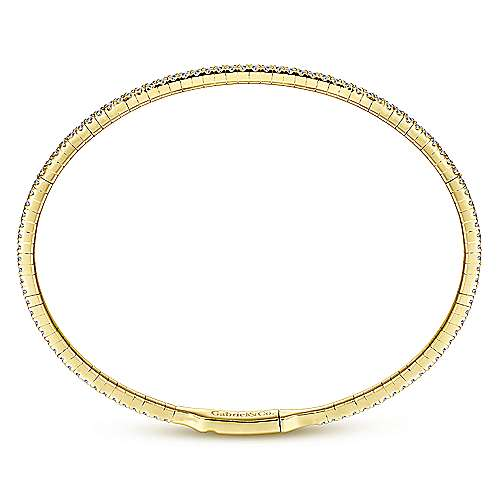 14k Yellow Gold Demure Bangle angle 3