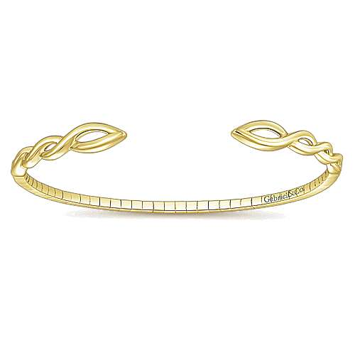 14k Yellow Gold Demure Bangle angle 1