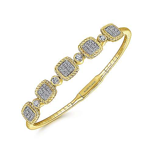 14k Yellow Gold Demure Bangle angle 2