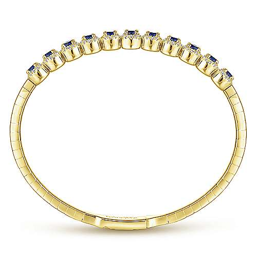 14k Yellow Gold Diamond  And Sapphire Bangle angle 3