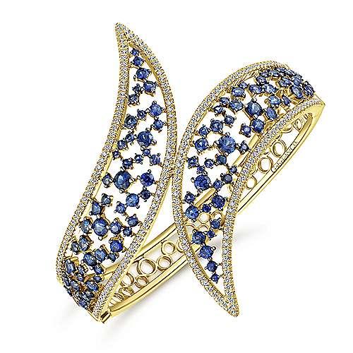 14k Yellow Gold Diamond  And Sapphire Bangle angle 2