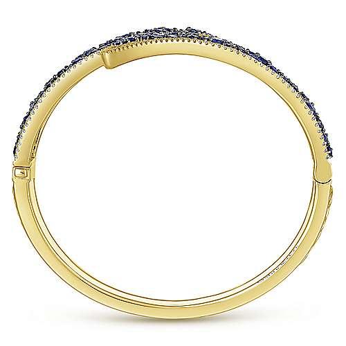 14k Yellow Gold Diamond  And Sapphire Bangle angle 3