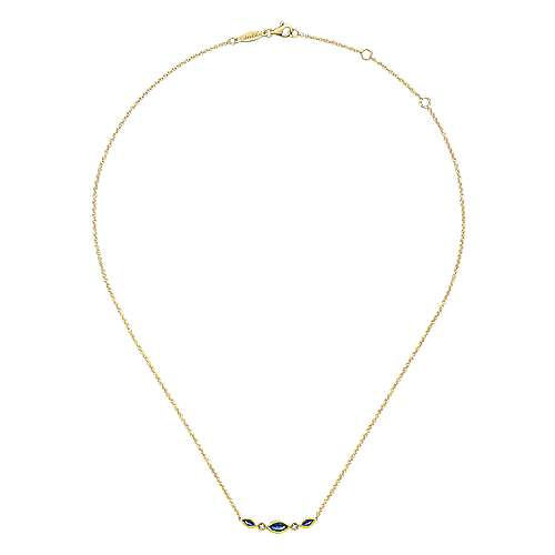14k Yellow Gold Diamond  And Sapphire Bar Necklace angle 2
