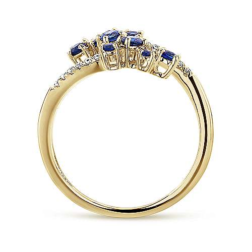 14k Yellow Gold Diamond  And Sapphire Fashion Ladies
