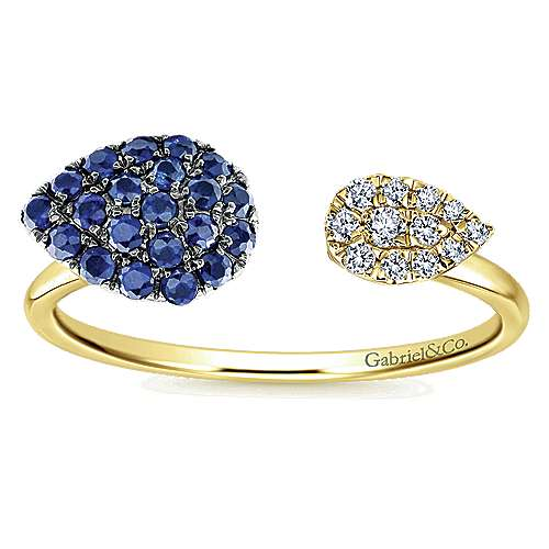 14k Yellow Gold Diamond  And Sapphire Fashion Ladies