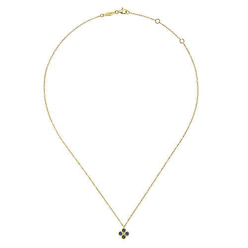 14k Yellow Gold Diamond  And Sapphire Fashion Necklace angle 2