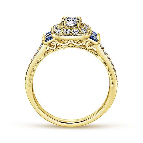 14k Yellow Gold Diamond  And Sapphire Halo Engagement Ring angle 2