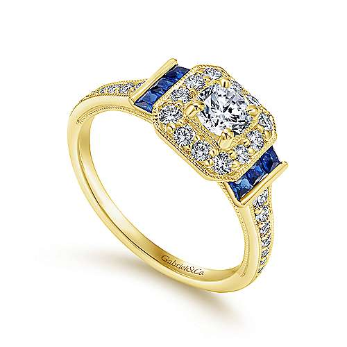 14k Yellow Gold Diamond  And Sapphire Halo Engagement Ring angle 3
