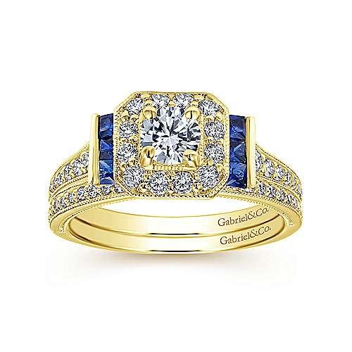 14k Yellow Gold Diamond  And Sapphire Halo Engagement Ring angle 4