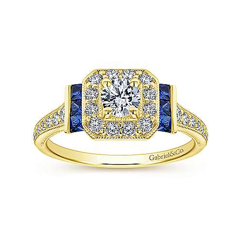 14k Yellow Gold Diamond  And Sapphire Halo Engagement Ring angle 5