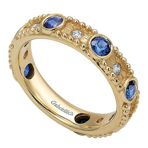 14k Yellow Gold Diamond  And Sapphire Stackable Ladies