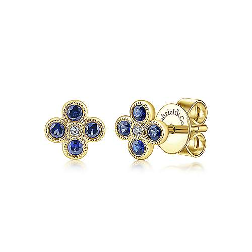 14k Yellow Gold Diamond  And Sapphire Stud Earrings angle 1