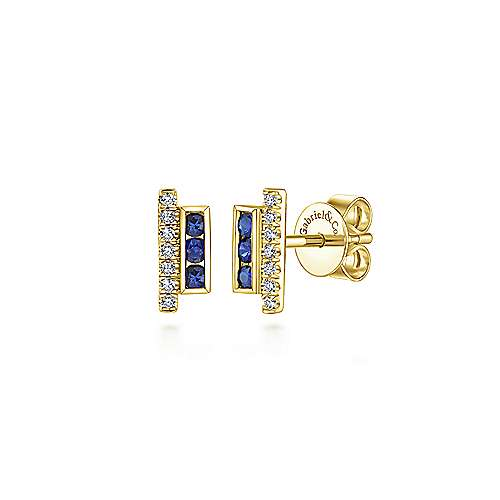 14k Yellow Gold Diamond  And Sapphire Stud