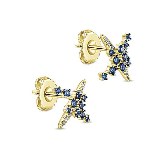 14k Yellow Gold Diamond  And Sapphire Stud Earrings angle 2