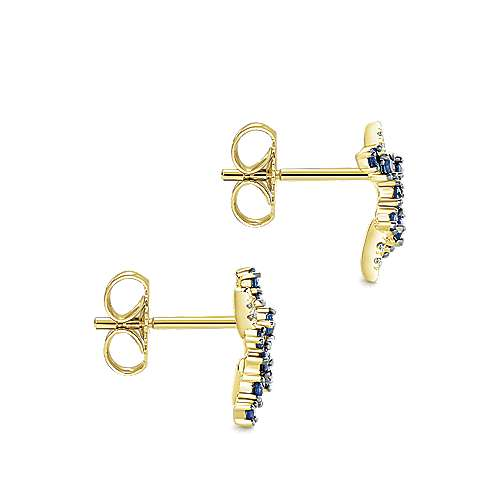 14k Yellow Gold Diamond  And Sapphire Stud Earrings angle 3