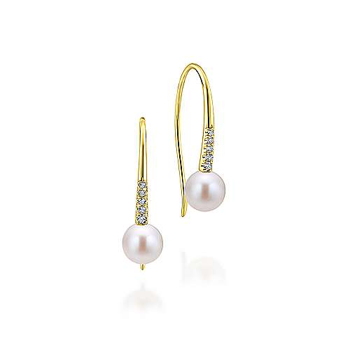 14k Yellow Gold Diamond & Cultured Pearl Drop Earrings
