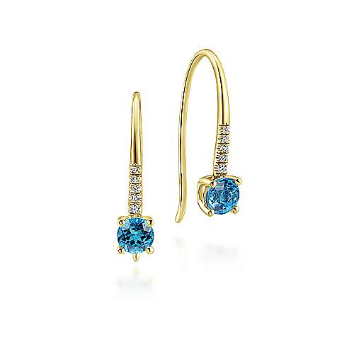 14k Yellow Gold Diamond & Swiss Blue Topaz Drop Earrings