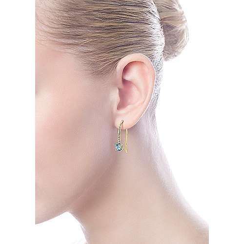 14k Yellow Gold Diamond & Swiss Blue Topaz Drop Earrings angle 3