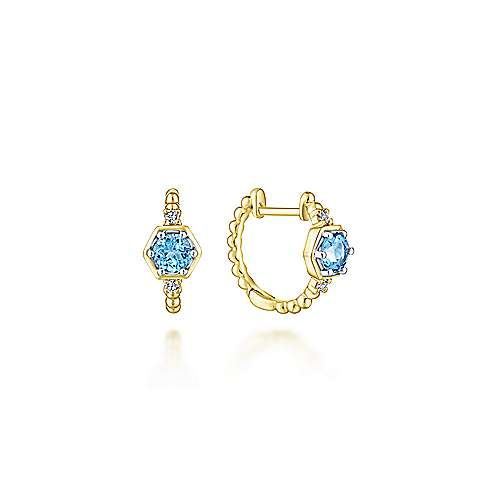 14k Yellow Gold Diamond & Swiss Blue Topaz Huggie Earrings