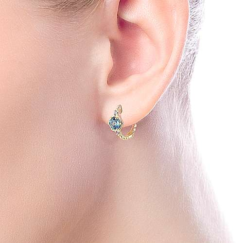 14k Yellow Gold Diamond & Swiss Blue Topaz Huggie Earrings angle 2