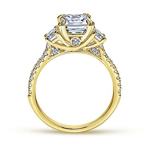 14k Yellow Gold Diamond 3 Stones Engagement Ring angle 2