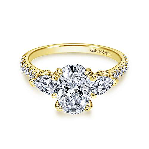 Gabriel - 14k Yellow Gold Oval 3 Stones Engagement Ring