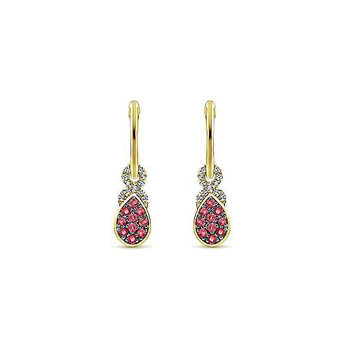 14k Yellow Gold Diamond And Pear Shaped Ruby Cluster Huggie Drop Earrings