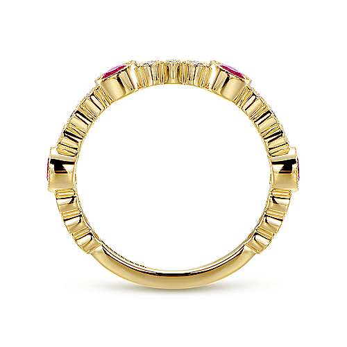 14k Yellow Gold Diamond And Ruby Stackable Ladies Ring angle 2
