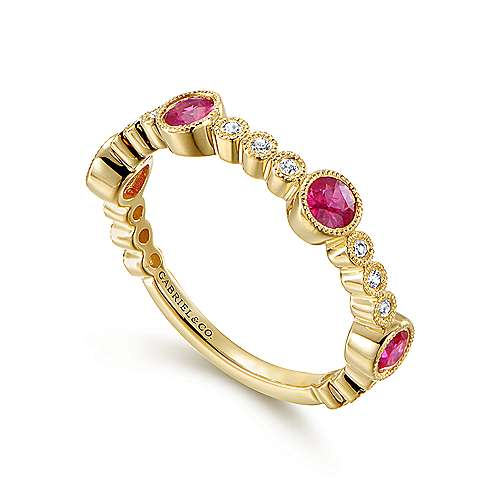14k Yellow Gold Diamond And Ruby Stackable Ladies Ring angle 3
