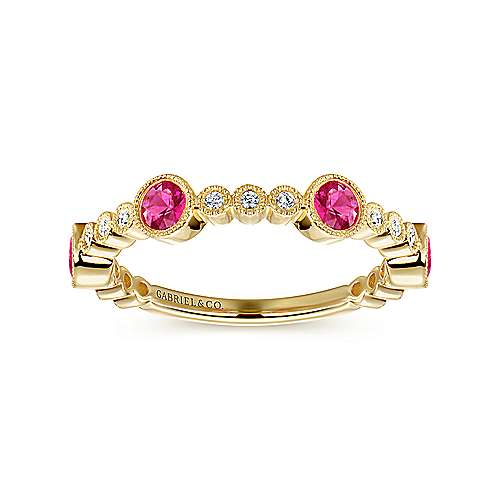14k Yellow Gold Diamond And Ruby Stackable Ladies Ring angle 4