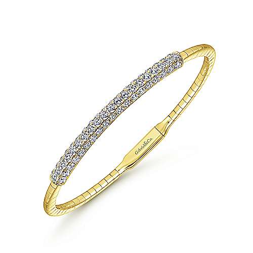 14k Yellow Gold Diamond Bangle angle 2