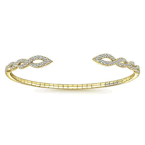 14k Yellow Gold Diamond Bangle angle 1