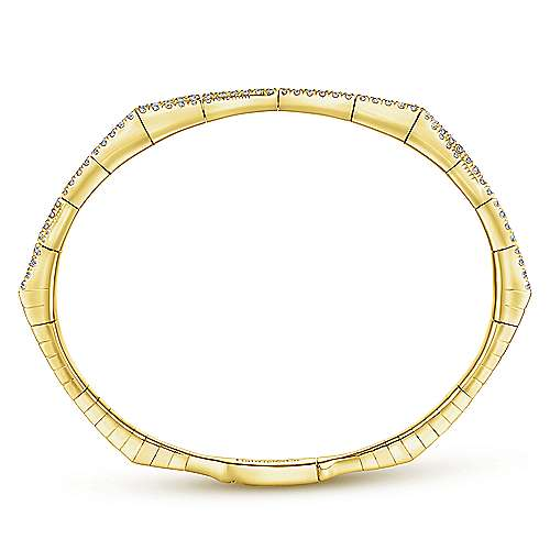 14k Yellow Gold Diamond Bangle angle 3