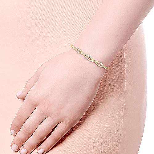 14k Yellow Gold Diamond Bangle angle 4