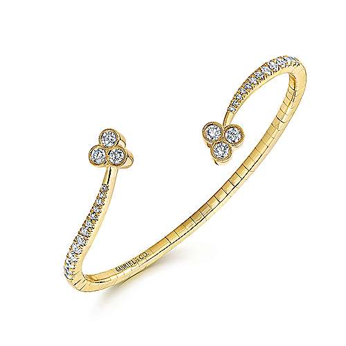 14k Yellow Gold Diamond Bangle angle 2