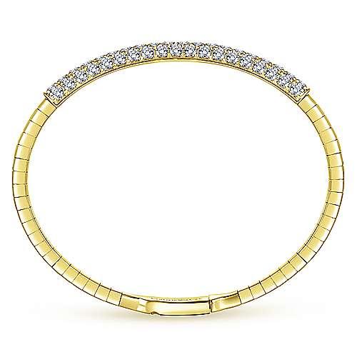 14k Yellow Gold Diamond Bangle angle 3