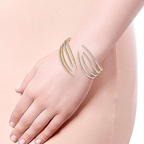 14k Yellow Gold Diamond Bangle angle 4