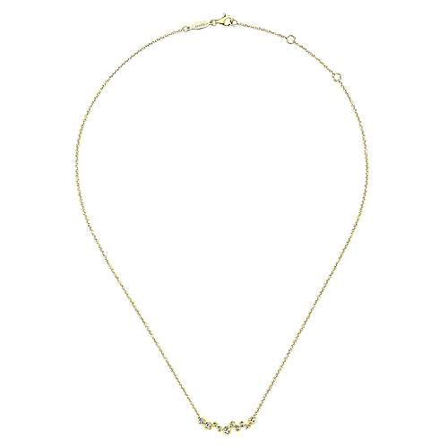 14k Yellow Gold Diamond Bar Necklace angle 2
