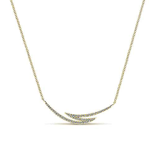 14k Yellow Gold Diamond Bar Necklace angle 1