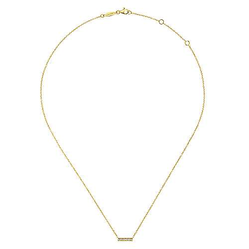 14k Yellow Gold Diamond Bar Necklace angle 2