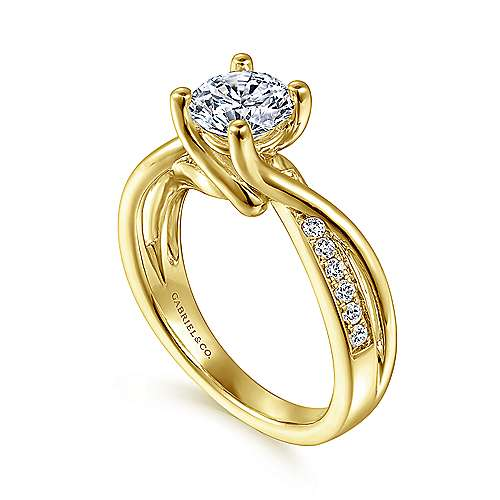 14k Yellow Gold Diamond Bypass Engagement Ring angle 3