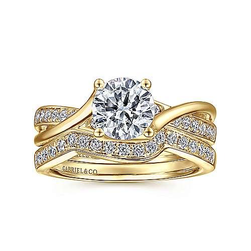 14k Yellow Gold Diamond Bypass Engagement Ring angle 4